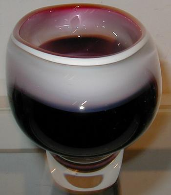 Image of Unusual Vintage Scandinavian Red Art Glass Bowl