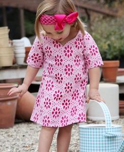 Image of Bold Pink Eyelet Dress