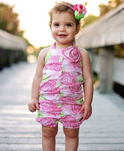 Image of Fabulous Circles Rouched RuffleButt Romper