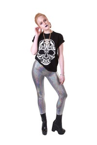 Image of JUZEL Leggings in SILVER HOLOGRAPHIC DISCO BALL with Normal waistband