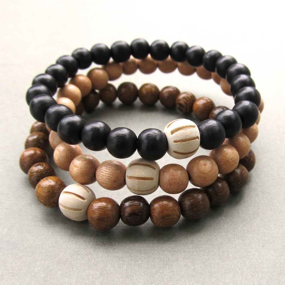 wooden beaded bracelets with carved bead choose your