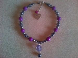 Image of 'Pretty Pet' beaded collar with drop bead charm.