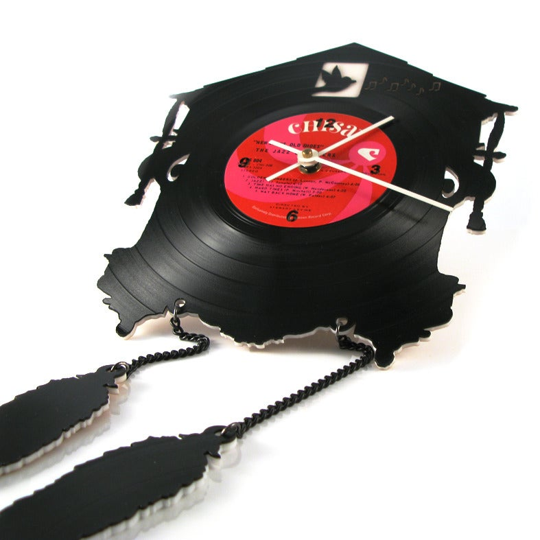 Image of Recycled Vinyl Record Cuckoo Clock