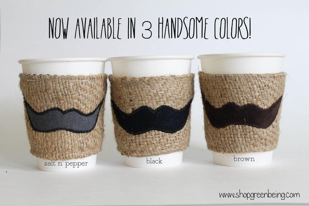 Image of Mustache Coffee Cozy. Coffee Koozie. Coffee Sleeve