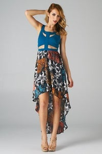 Image of Cut Out Bodice High Low Dress