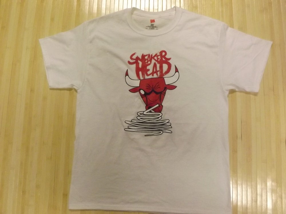"Image of ""SneakerHead"" Crewneck T-Shirt (Presented in White)"