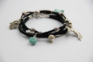 Image of Crescent Moon Tibetan Wrap Charm Bracelet *NEW*