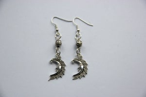 Image of Silver Crescent moon earrings