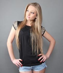 Image of T-shirt Women Black Leopard