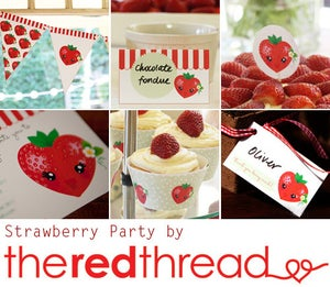 Image of Strawberry Party printable pack