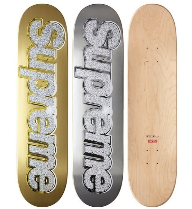 Image of Supreme Bling Skate Deck Gold/Silver