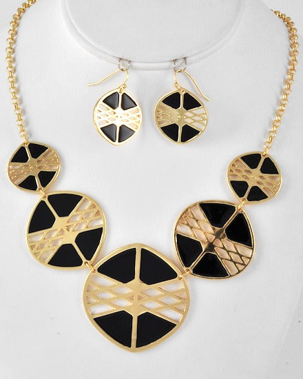 Image of Black/Gold Coin Necklace Set
