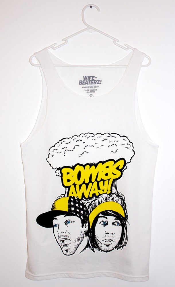 """Image of Bombs Away Singlet - """"The Faces"""" white"""