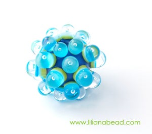 Image of Aqua on Lime Green & Blue Berry Extraordinaire with Seeds Focal Glass Bead