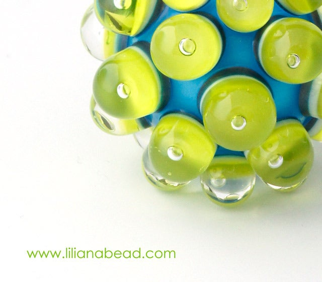 Image of Lime Green on Aqua Berry Extraordinaire with Seeds Focal Glass Bead