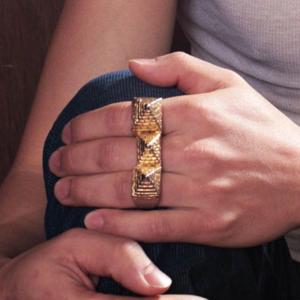 Image of 3 Finger Pyramid Ring white brass