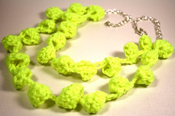 Image of Neon Crochet Bauble Necklace by Persimmon Jewelry
