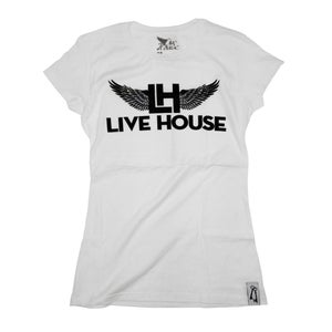 Image of Female Classic LH Wing Tee (Black On White)