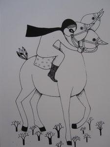 image de Petite fille et son cheval a 3 tetes blanc
