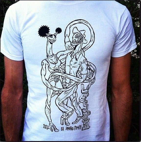 Image of LESBOA PARTY T-shirt (B&W illustration by Pedro Zamith)