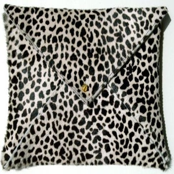 Image of Baby Giraffe Hair on Hide Leather Clutch