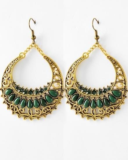 Image of Emerald Antique Circle Dangle Earrings