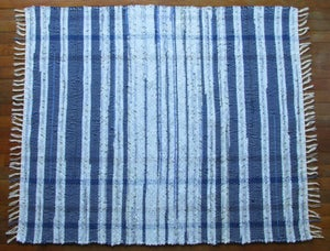 Image of Handwoven Rag Rug - Sky blue, ocean blue, navy, sage / Eco-Friendly upcycled fabric