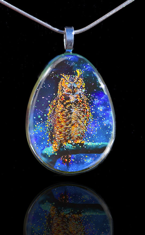 Image of Star Owl Pendant - Conduit To Celestial Wisdom