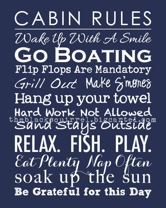 """Image of Cabin Rules - Subway Art Family Rules - 8""""x10"""" print"""