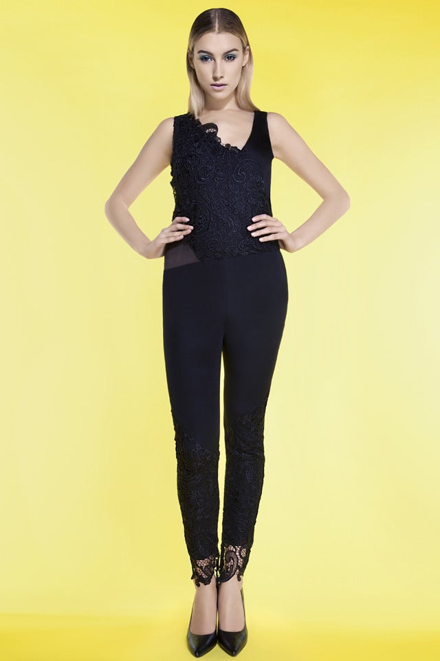 Image of LACE JUMPSUIT WITH ORGANZA PANELS -  WAS £455