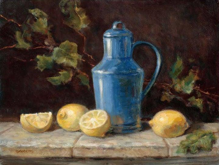 Image of Blue Jug and Lemons