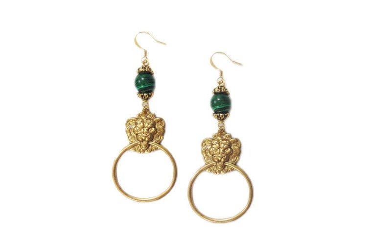 Image of Lion faux knocker loop earrings