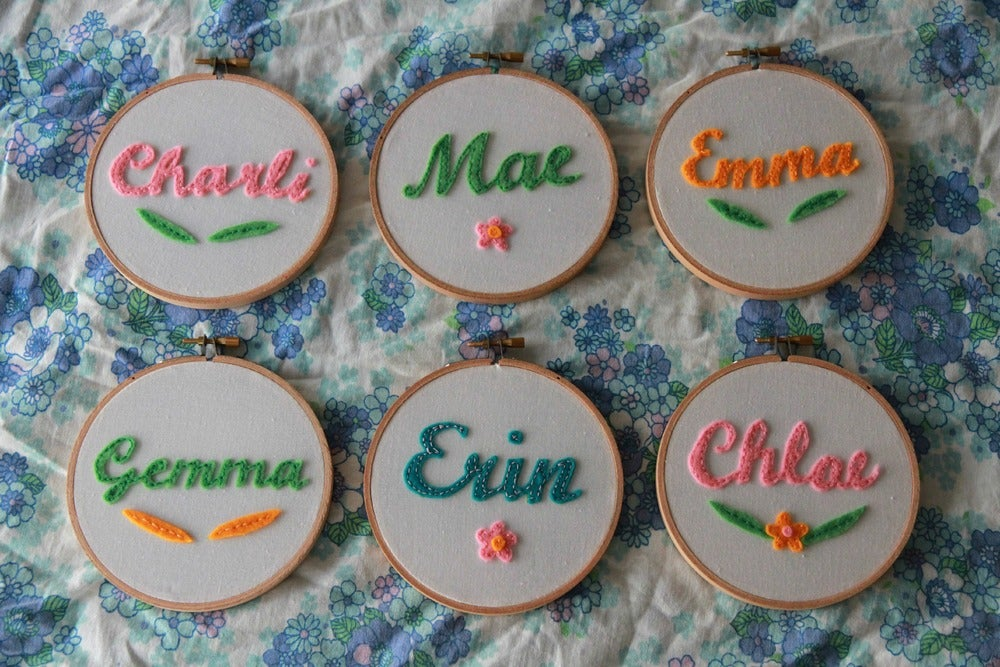 Image of Personalised Name Hoop - Colour & Design Options