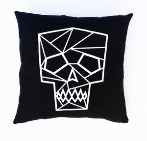 Image of LornaLove cushion : skull [white on black]