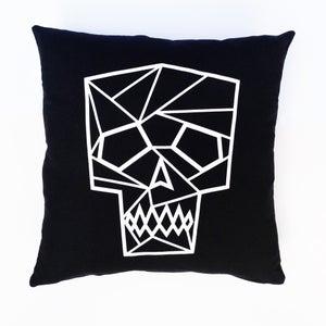 Image of LornaLove cushion : skull [white on black]
