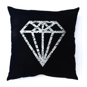 Image of LornaLove cushion : Diamond [metallic silver on black]