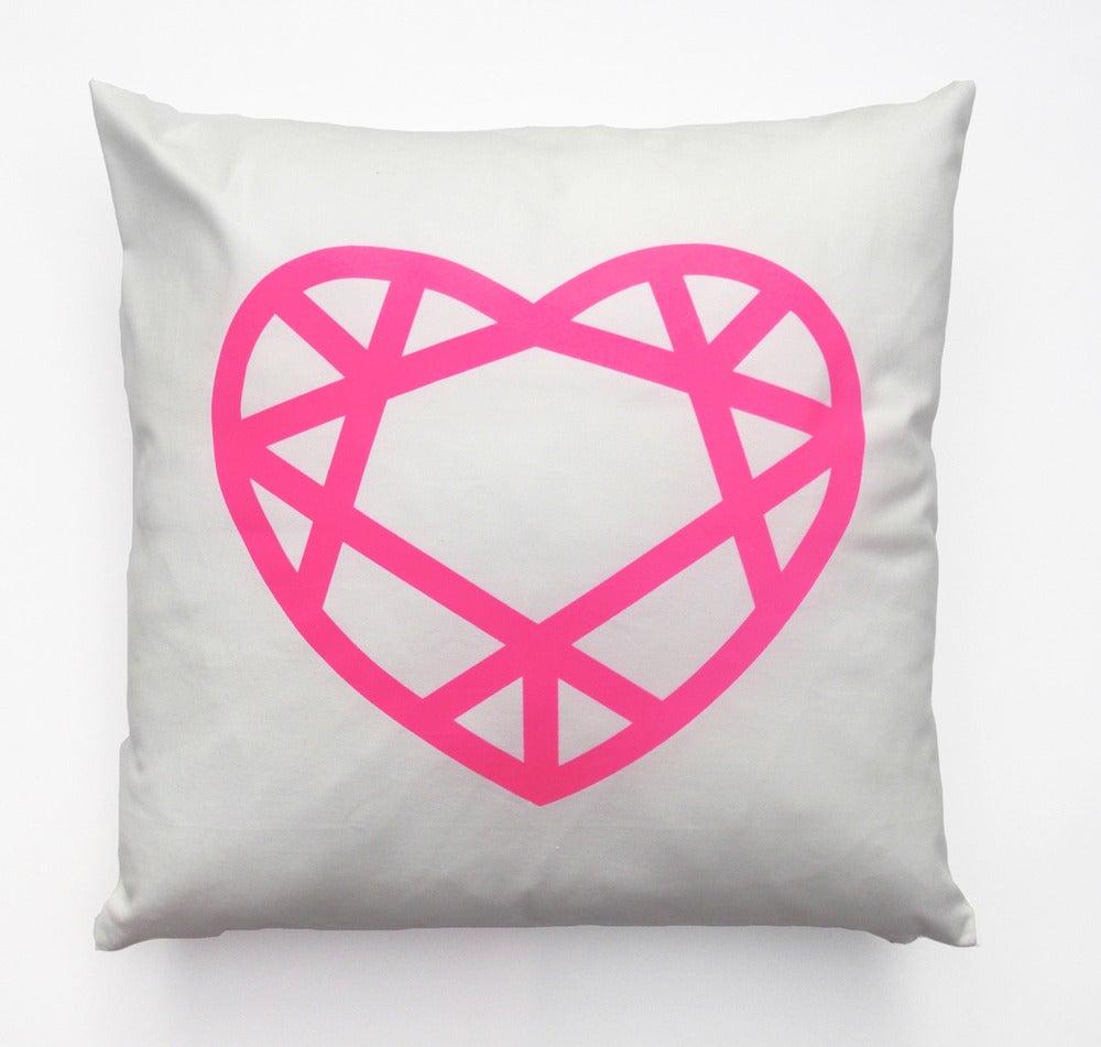 Image of LornaLove cushion : heart [neon pink on white]
