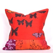 Image of Burnt Red with Butterflies 18 x 18