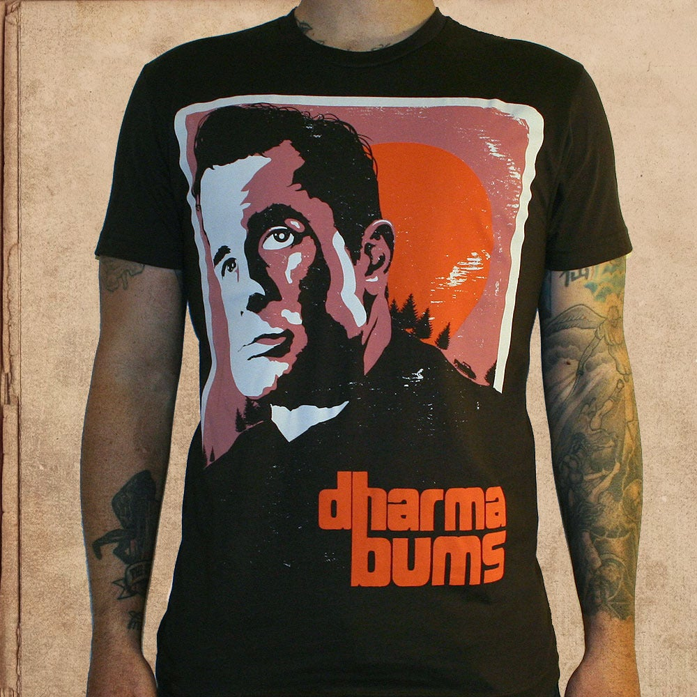 Image of Kerouac Dharma Bums - dark brown - only XL/2X left - discharge inks - unisex