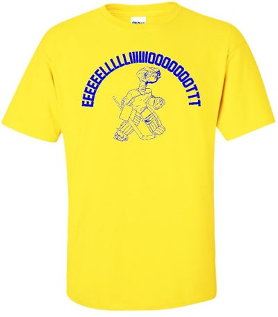 Image of EEEEEEEEELLLLIIIIIIOOOOOTTTT E.T. BRIAN ELLIOTT PARODY T-SHIRT IN ST. LOUIS BLUES COLORS