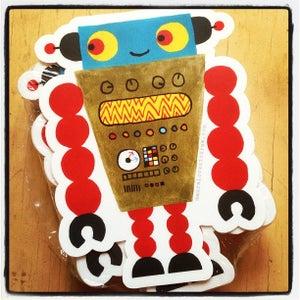 Image of die-cut robot sticker #01