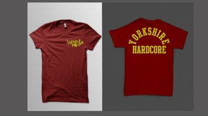 Image of Yorkshire Hardcore T-Shirt - Yellow Print on Burgundy