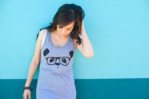 "Image of ""Nerdy Panda"" Tank Top (Heather Grey)"