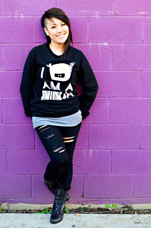 "Image of ""I Am A Ninja"" Crew Neck Sweater (Black)"