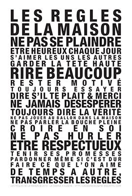 """Image of  Affiche """"Les Regles de la Maison"""""""