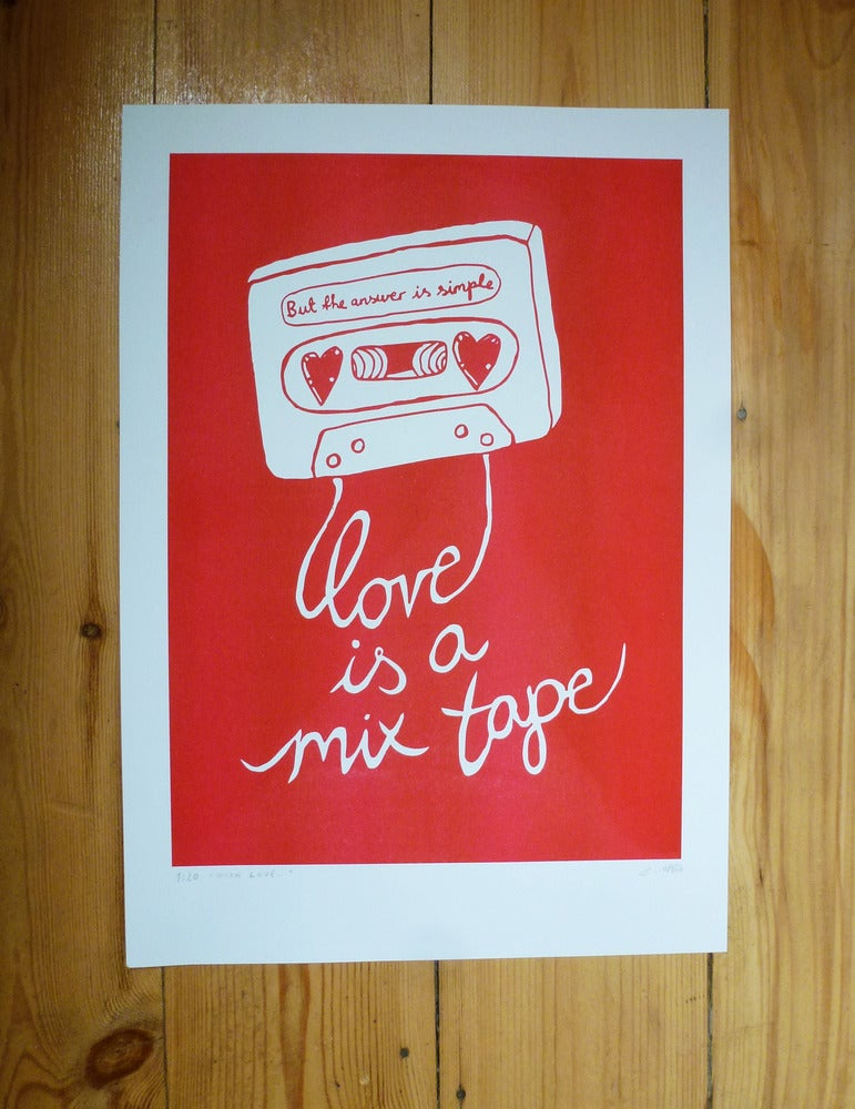 Image of Love is a Mix Tape poster (A3)