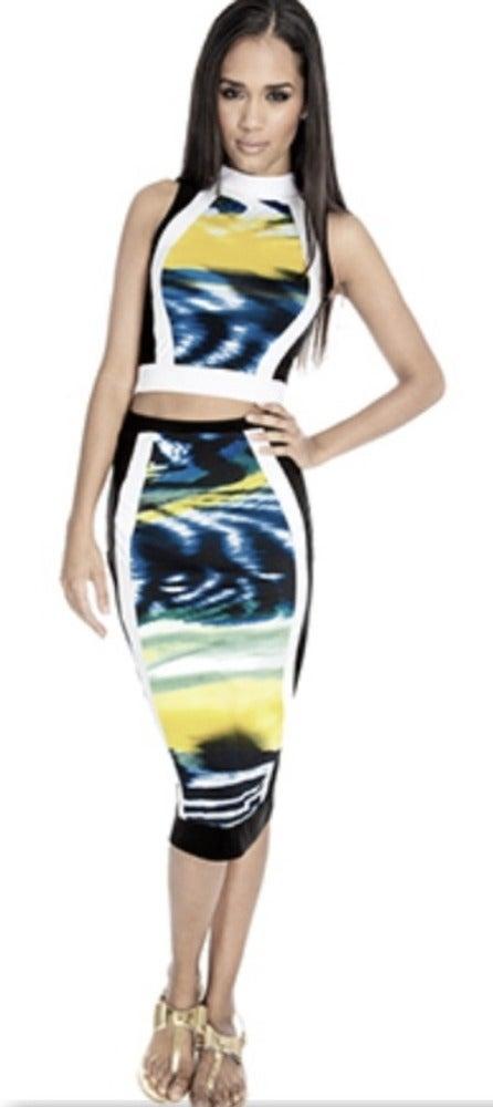 Image of Cosmic print pencil skirt