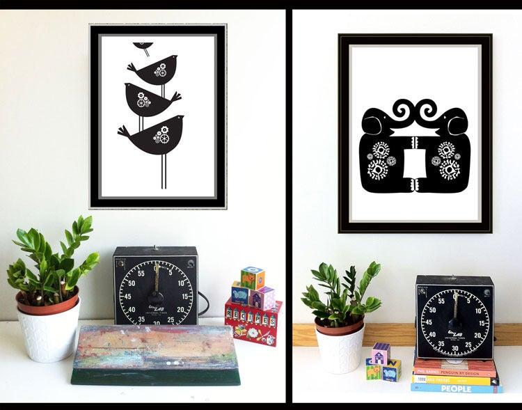 Image of Birds and Elephants Black & White print set