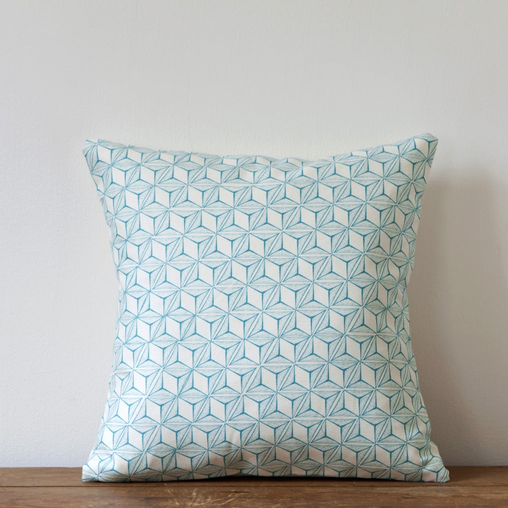 Image of Tumbling Print Cushion, Turquoise Colourway