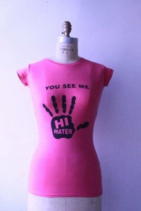 Image of Hi Hater T-Shirt - Womens (Pink w/Black)